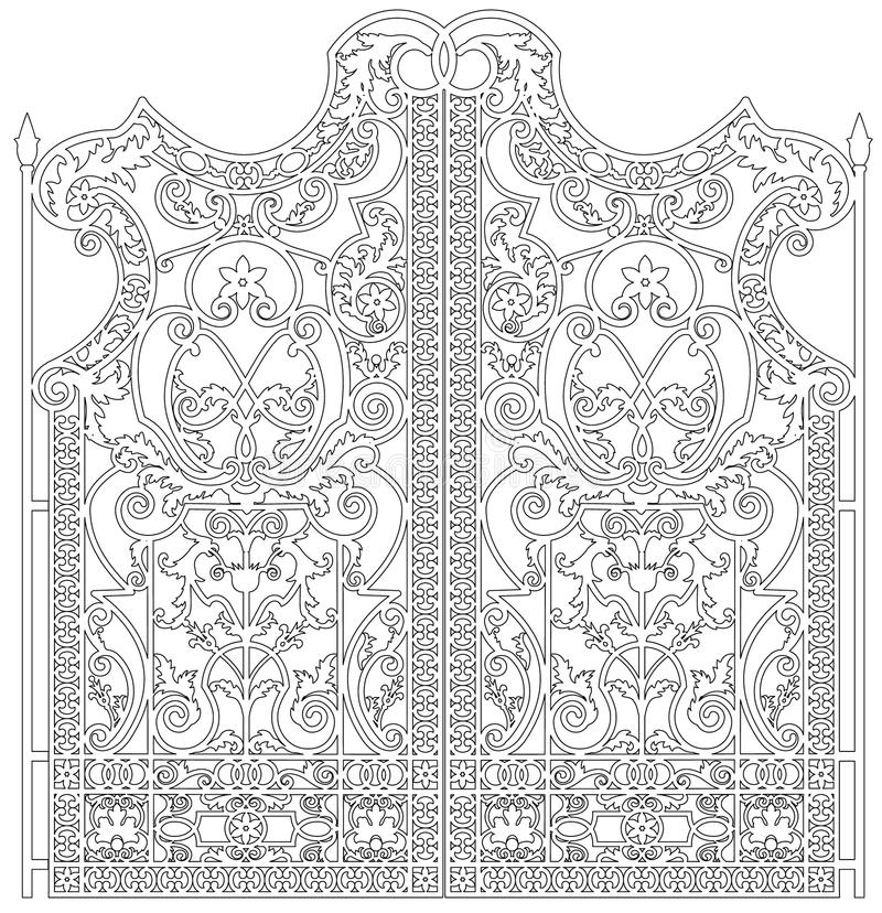 Forged iron gate. Black metal gate with forged ornaments on a white background royalty free illustration
