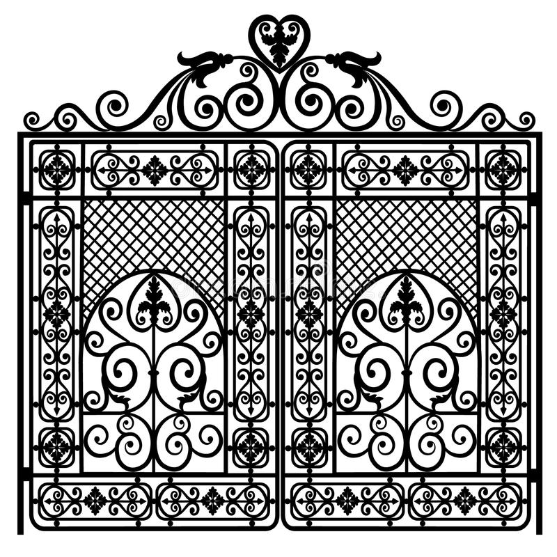 Forged iron gate vector illustration