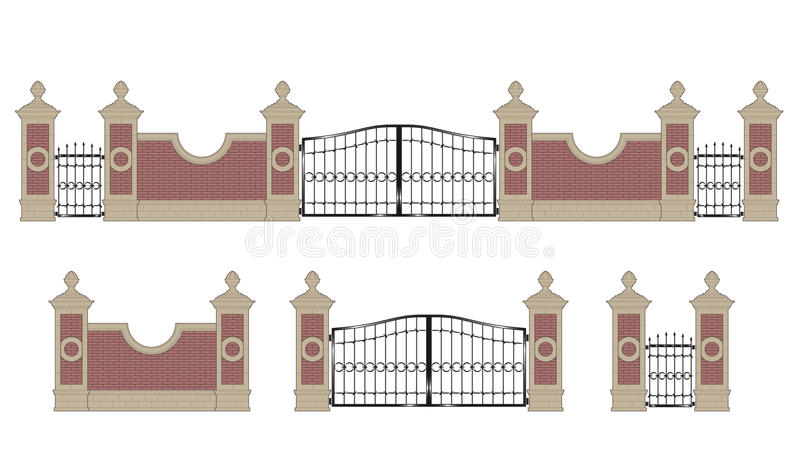 Forged iron gate with pillars vector illustration