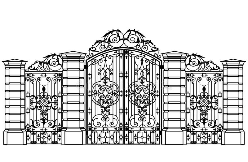 Forged iron gate and wiсket door vector illustration