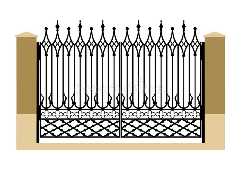 Forged iron gothic gate. Ornate smart forged iron gothic gate-accurate drawing sketch of editable modules royalty free illustration