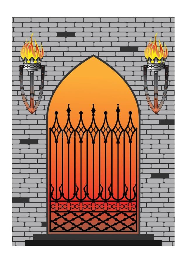 Forged iron gothic window royalty free illustration