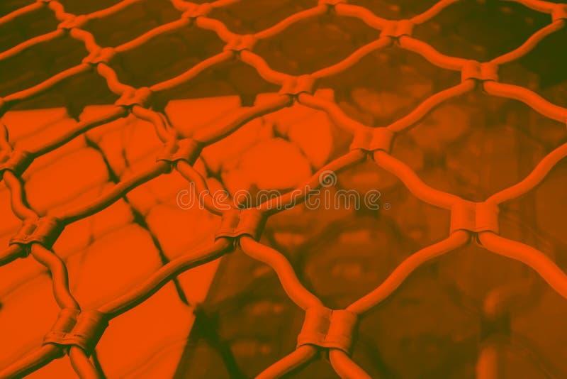 Forged metal figured lattices on the windows, hot orange toned photo. Danger concept stock photo