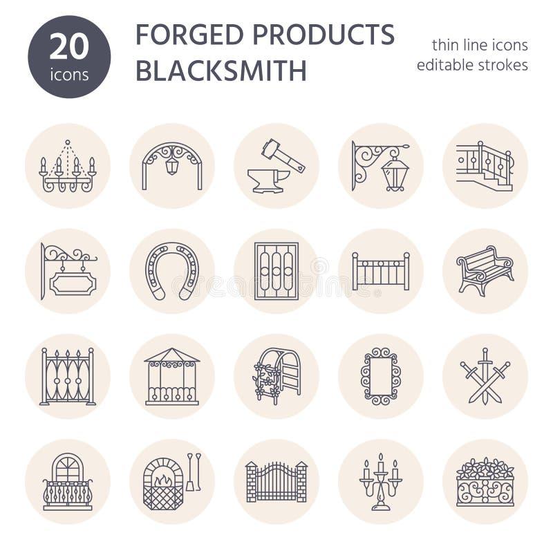 Forged metali produkty, artystyczne skucie wektoru linii ikony Blacksmith elementy, dokonany okno ogrodzenie, brama, ostro protes ilustracji