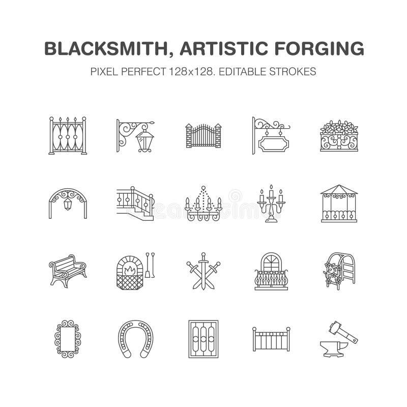 Forged metali produkty, artystycznego skucia mieszkania linii wektorowe ikony Blacksmith, okno ogrodzenie, brama, poręcz, ogród royalty ilustracja
