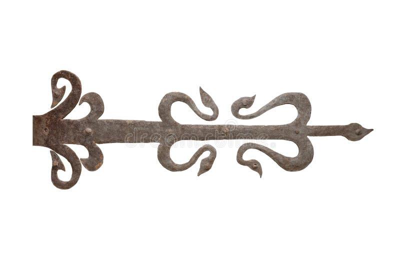 Stary dokonanego żelaza drzwiowy zawias obraz royalty free