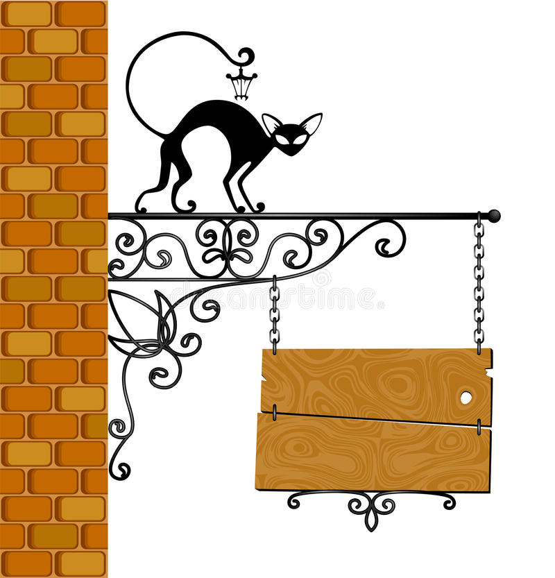 Forged signboard with a black cat. Illustration for a design vector illustration
