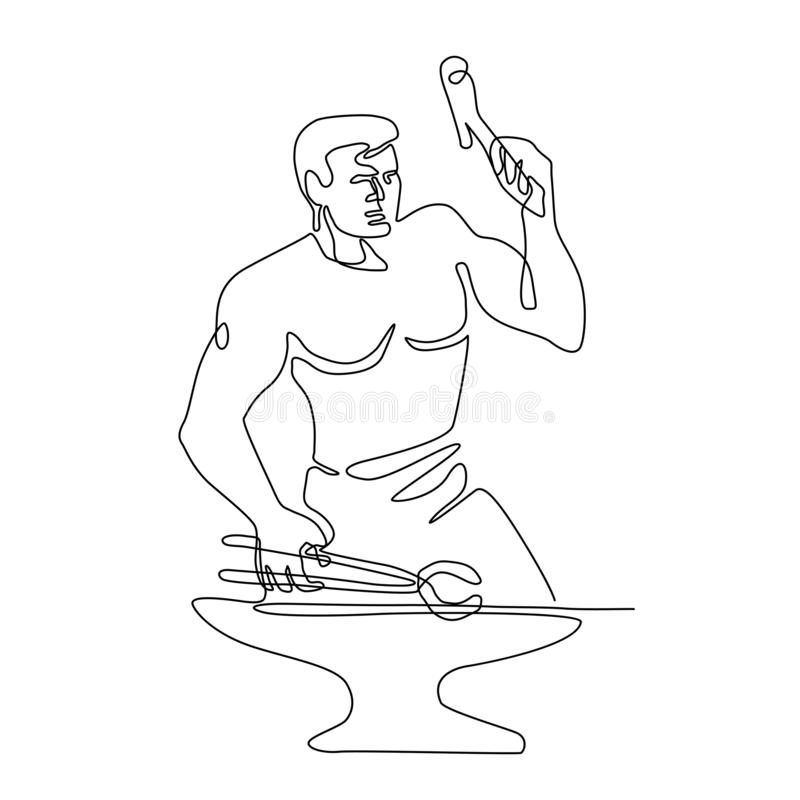 Forgeron Hammer Continuous Line illustration stock