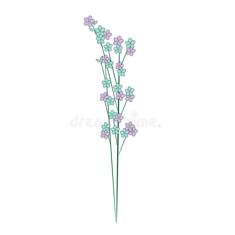 Forget - me-a bouquet of flowers stock illustration