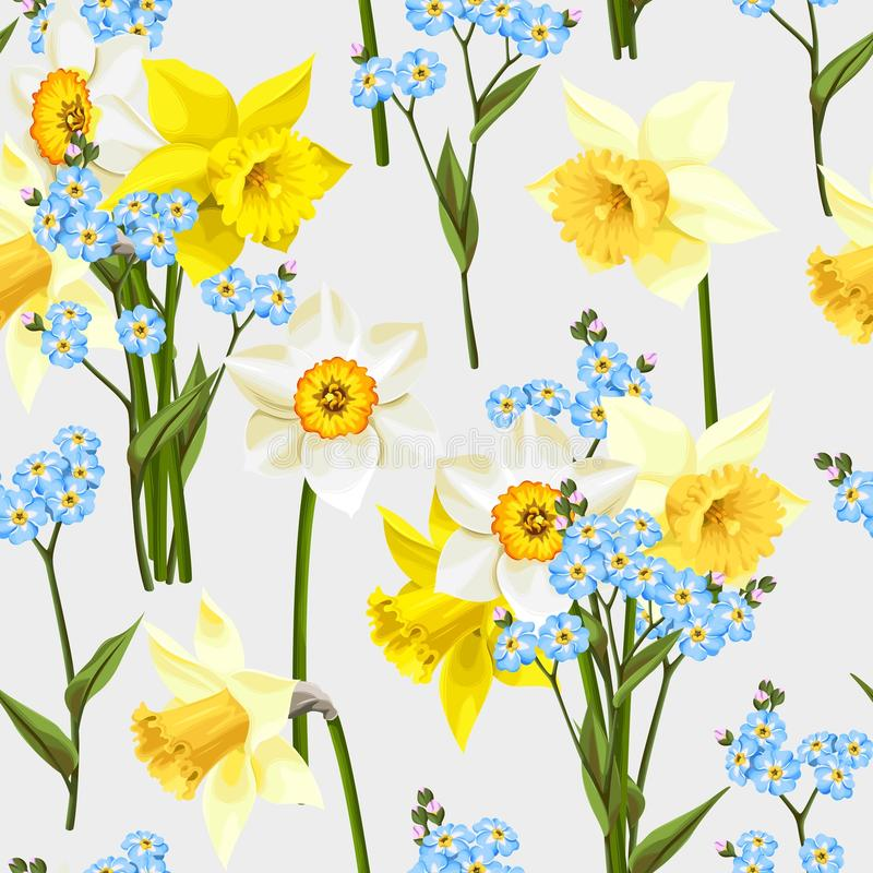 Free Forget Me Not And Daffodil Seamless Royalty Free Stock Photos - 68283368