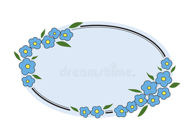 Forget Me Not Floral Frame stock image