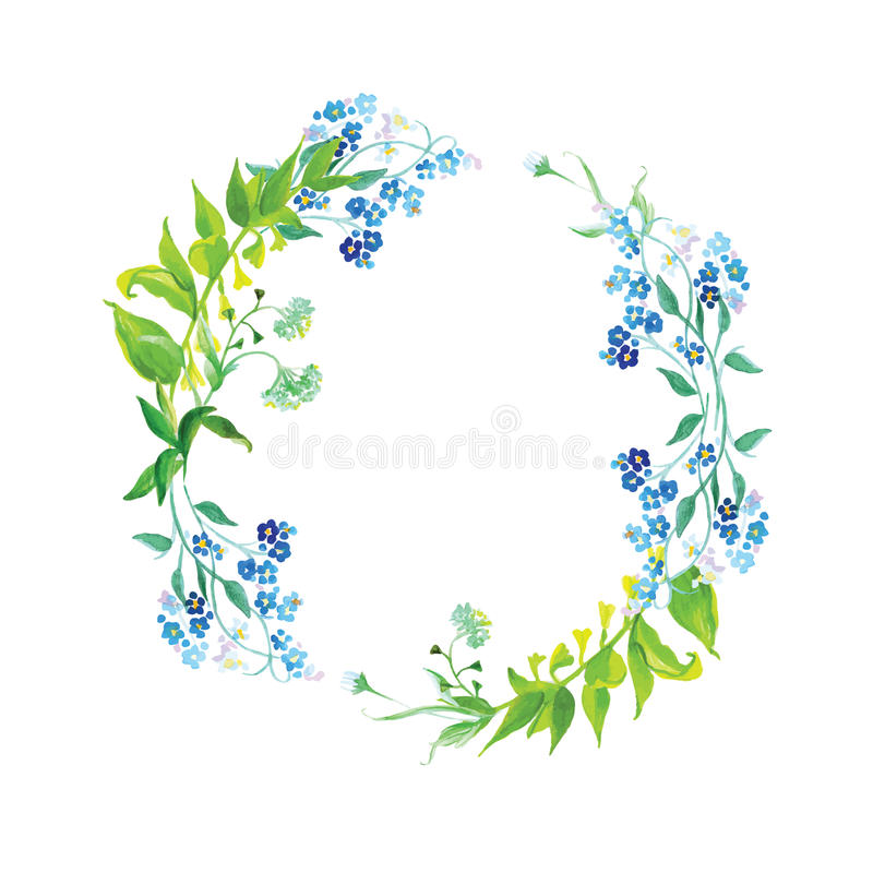 Forget-me-not and herb watercolor round vector frame vector illustration
