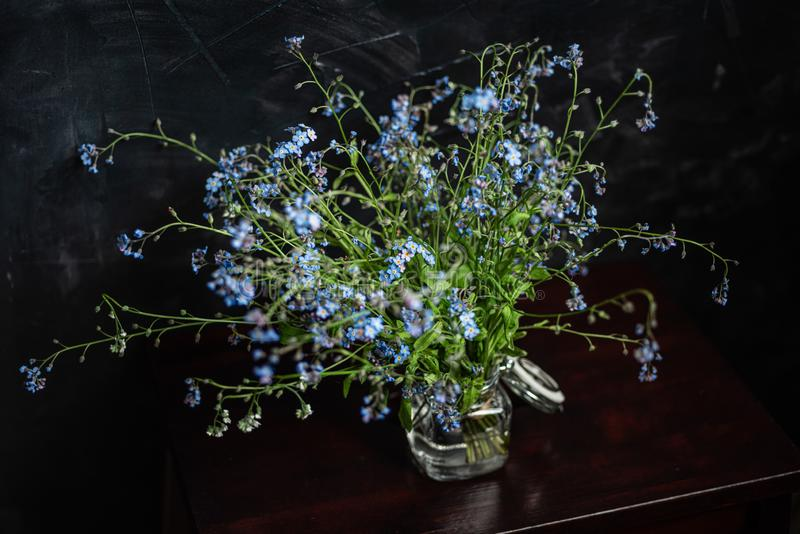 Forget-me-not`s bouquet in small glass jar on wooden stool, dark background stock images