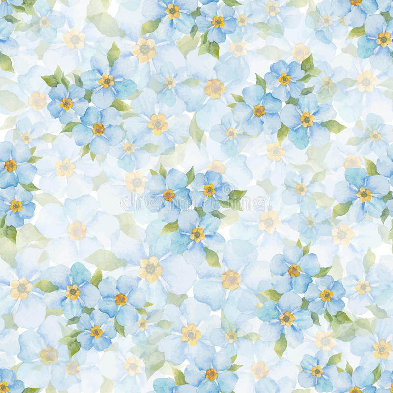 Forget me not seamless pattern. Watercolor hand drawn background. royalty free illustration