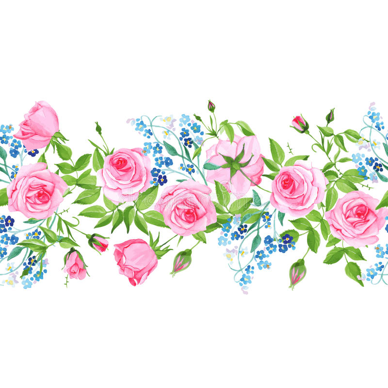 Forget-me-nots and roses seamless vector horizontal banner. Forget-me-nots and pink roses seamless vector horizontal banner vector illustration