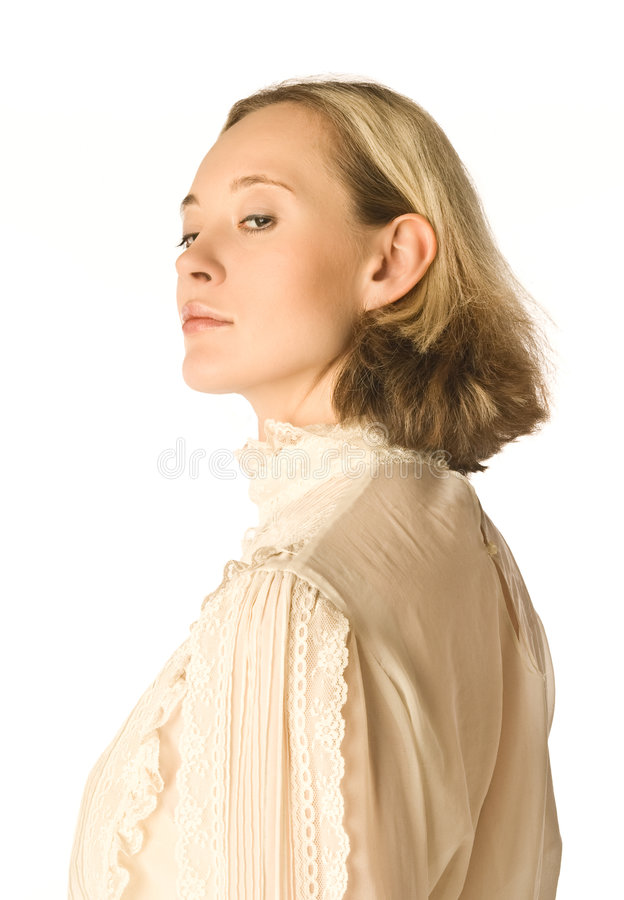 Forgive or not forgive 2. The portrait of a woman looking coldly back over her shoulder royalty free stock images