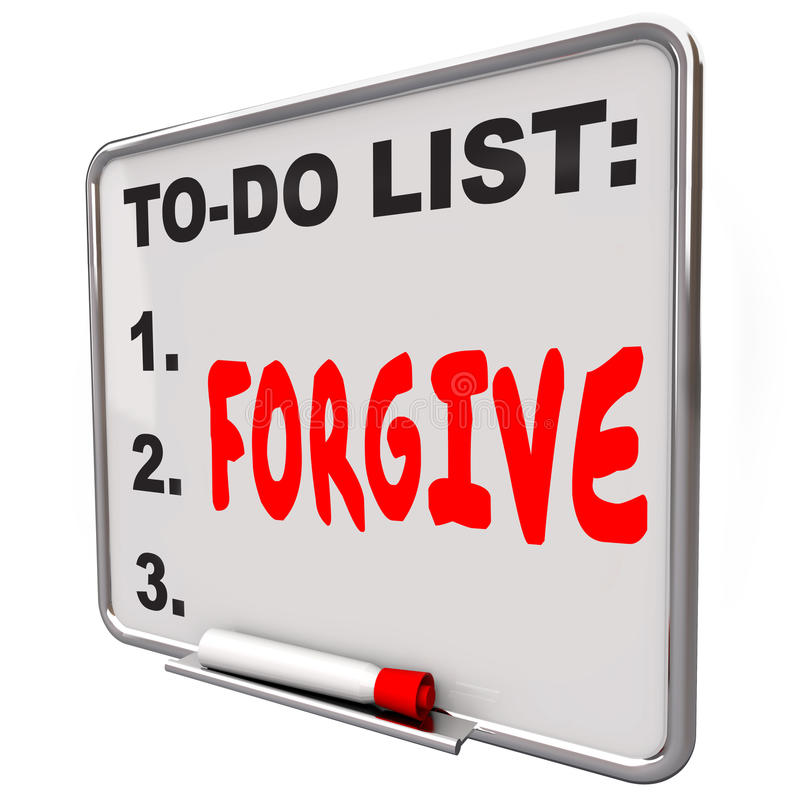 Forgive Word Written To Do List Board Grace Absolve Excuse Forge. Forgive word written on a to do list on dry erase board to illustrate the act of absolving vector illustration