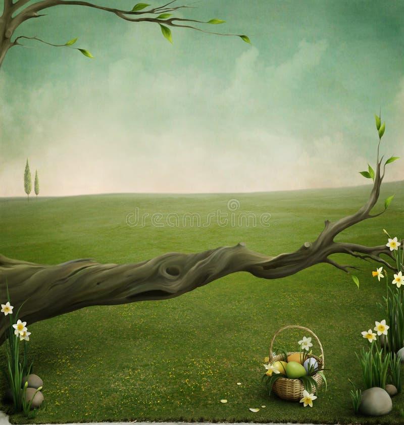 Forgotten basket, background for the Easter cards vector illustration