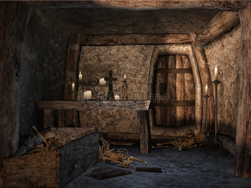 Forgotten crypt. With a wooden coffin, bones and candles royalty free illustration