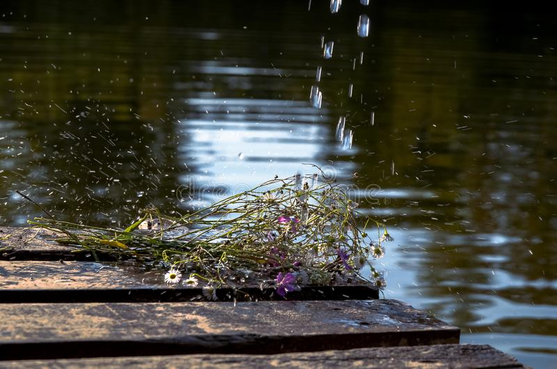 Forgotten flowers on a pier in the rain royalty free stock photography