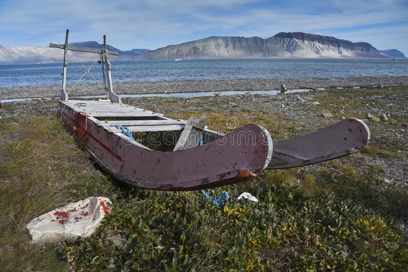 Inuit sled on the shore royalty free stock photos