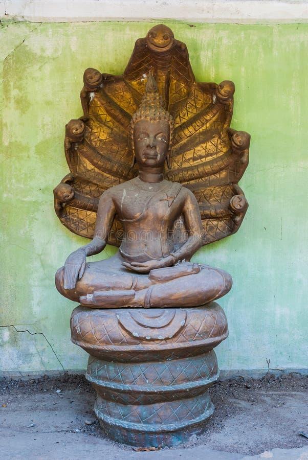 Forgotten Smiling Naga Head Covered Buddha Image (Nak Prok Image) Royalty Free Stock Images