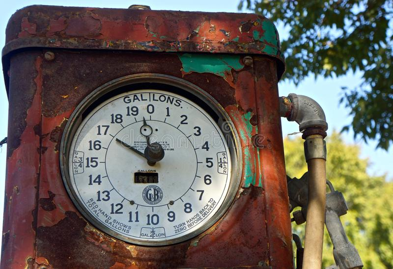 Forgotten vintage gasoline pump. Abandoned gasoline pump showing years of corrosion stock photos