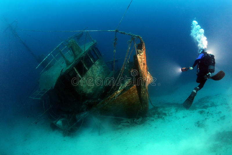 Forgotten wreck. This wreck can be found in the Adrian Sea, Pag Island royalty free stock images