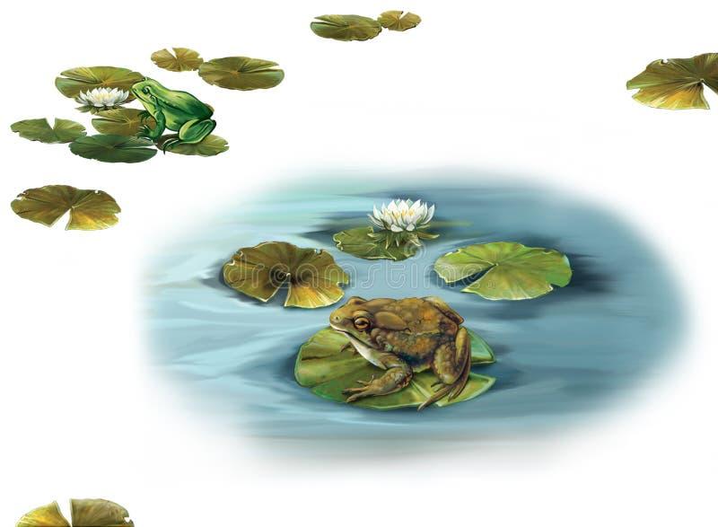 Forgs sammanträde på a lämnar lilly i en pöl vektor illustrationer