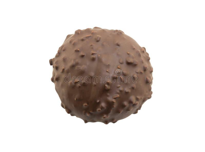 Fori coperti di cioccolato della ciambella isolati su fondo bianco immagini stock
