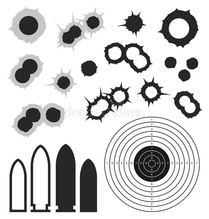 Fori di pallottola astratti pallottola Obiettivo icona illustrazione vettoriale