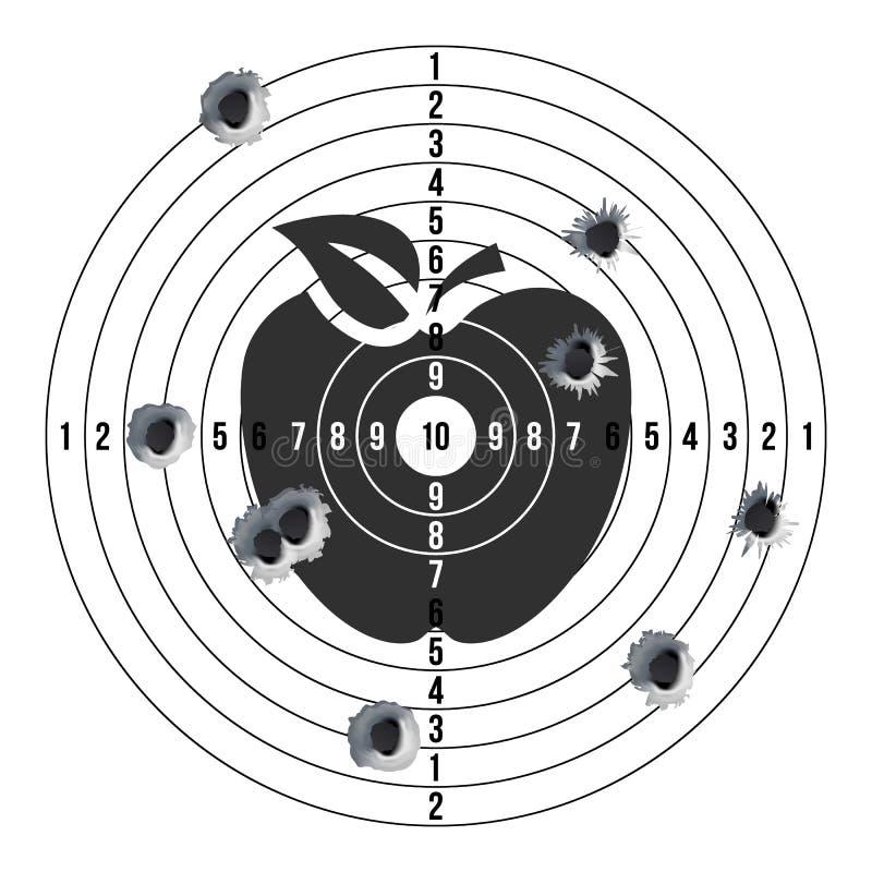 Fori di pallottola nel vettore dell'obiettivo Colpo di successo Obiettivo di carta della fucilazione per concorrenza di fucilazio illustrazione di stock