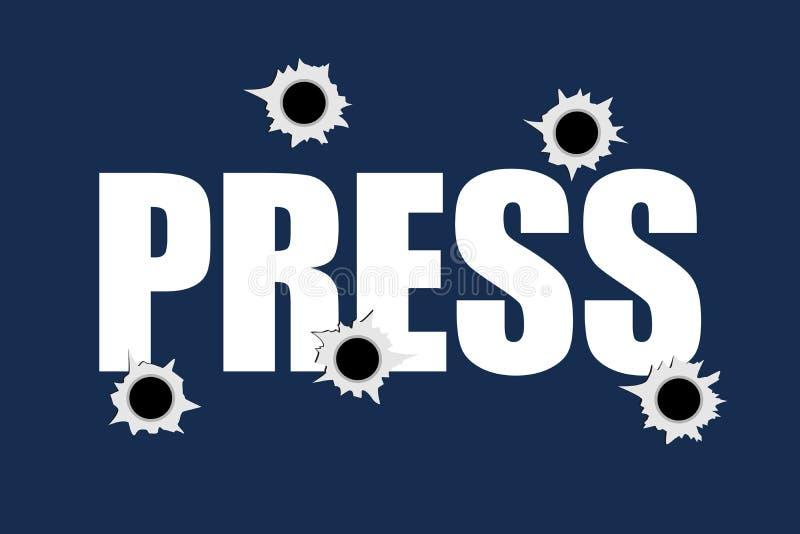 Fori di pallottola sul segno della STAMPA come metafora dell'uccisione, della fucilazione e di assassinio del giornalista e del r royalty illustrazione gratis