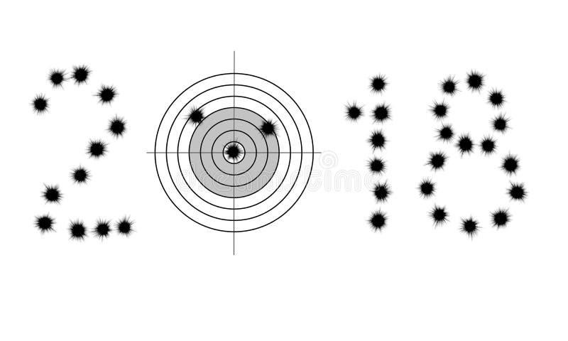 Fori ed obiettivo di pallottola in una forma di 2018 immagine stock