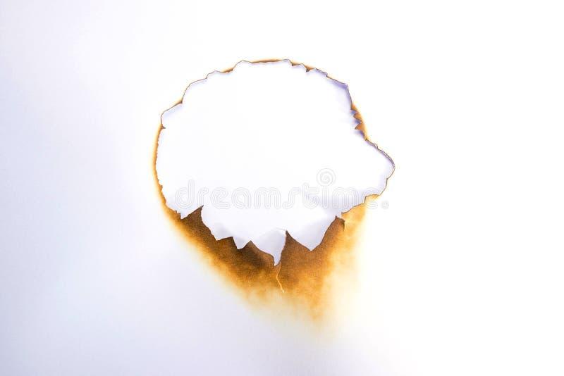 Fori la carta con i bordi bruciati su fondo bianco fotografia stock libera da diritti