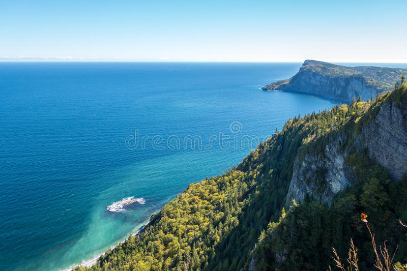Forillon National Park, Gaspe Peninsula. View from Mont-St-Alban viewpoint in Forillon National Park, Gaspe Peninsula, Quebec, Canada. Cap Bon Ami in the stock photography
