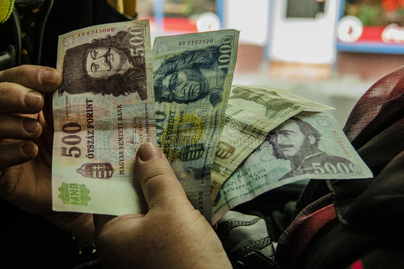 Forint - oud geld stock foto