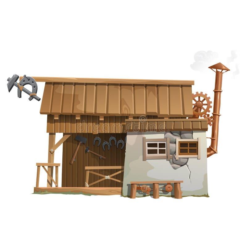 Forja de madeira velha com ferreiro das ferramentas ilustração stock