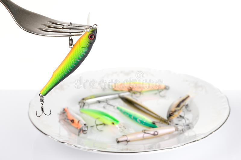 Download Fork With Artificial Fishing Bait Stock Image - Image: 12831185