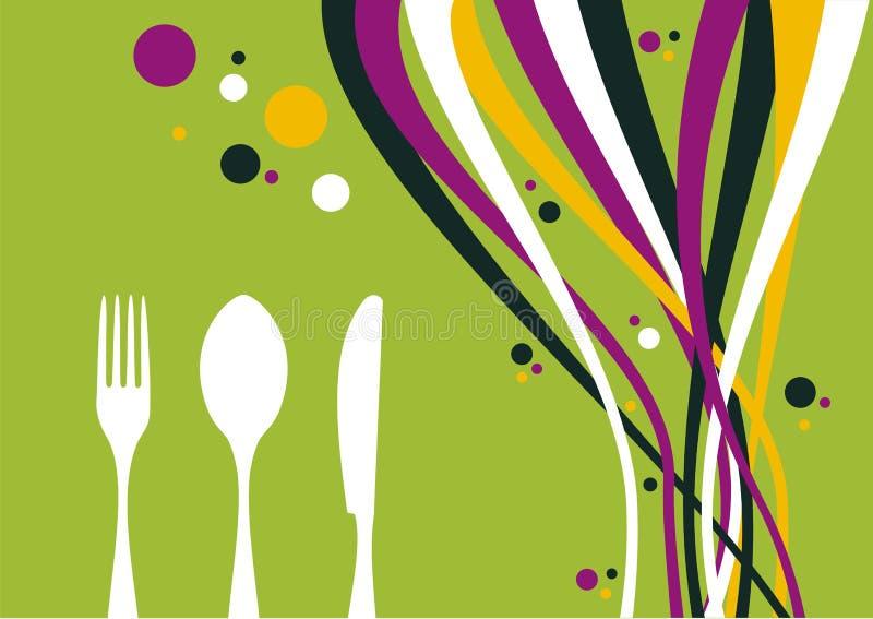 Fork, cuchillo y cuchara sobre fondo de las ondas libre illustration