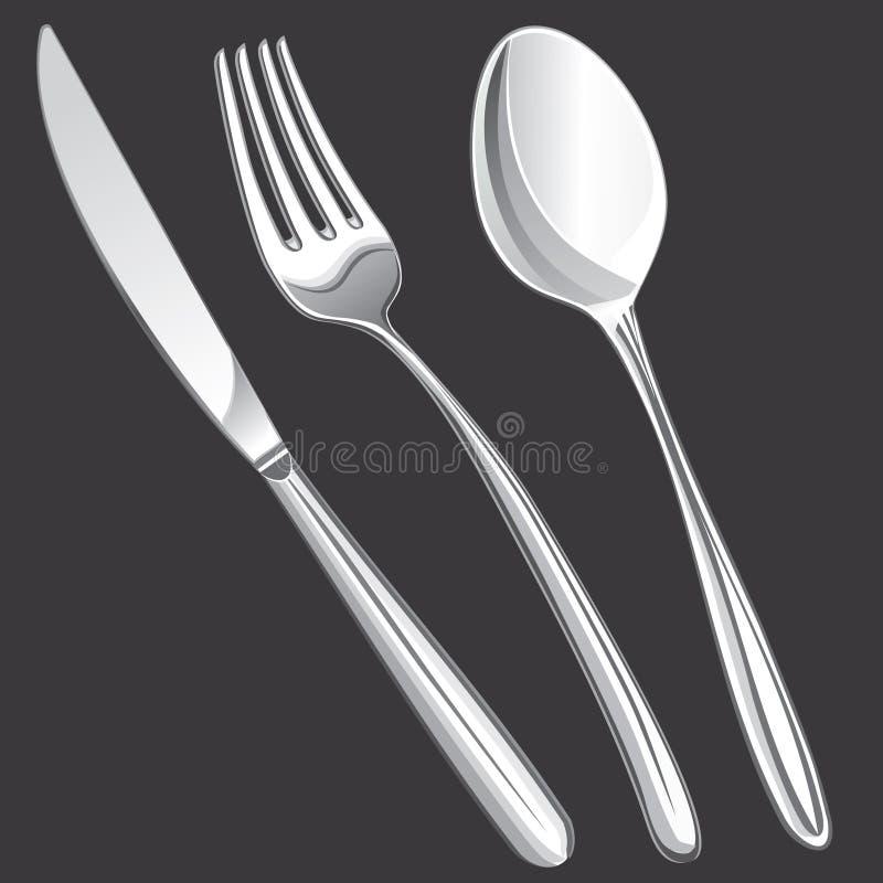 Fork de la cuchillería, cuchara, cuchillo ilustración del vector