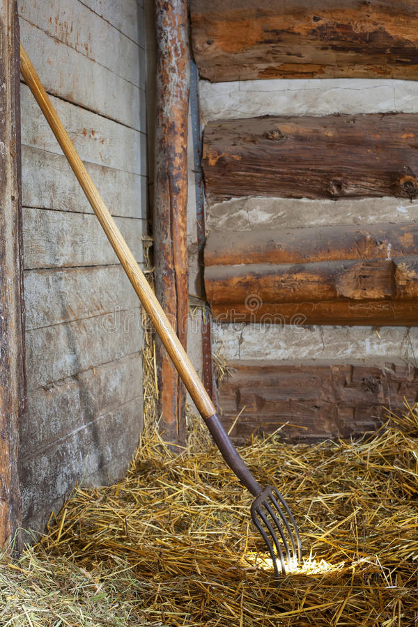 Fork de la echada en heno en parada del caballo foto de archivo