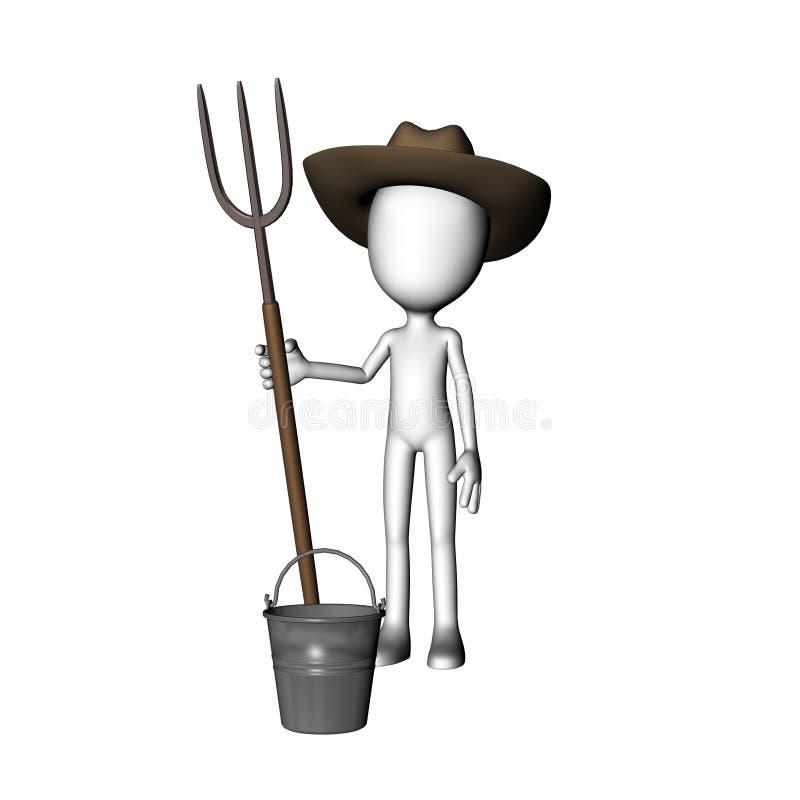 fork de la explotación agrícola del hombre del granjero 3D fotografía de archivo libre de regalías