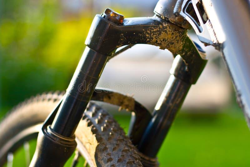 Fork de la suspensión de la bicicleta de la montaña fotografía de archivo libre de regalías