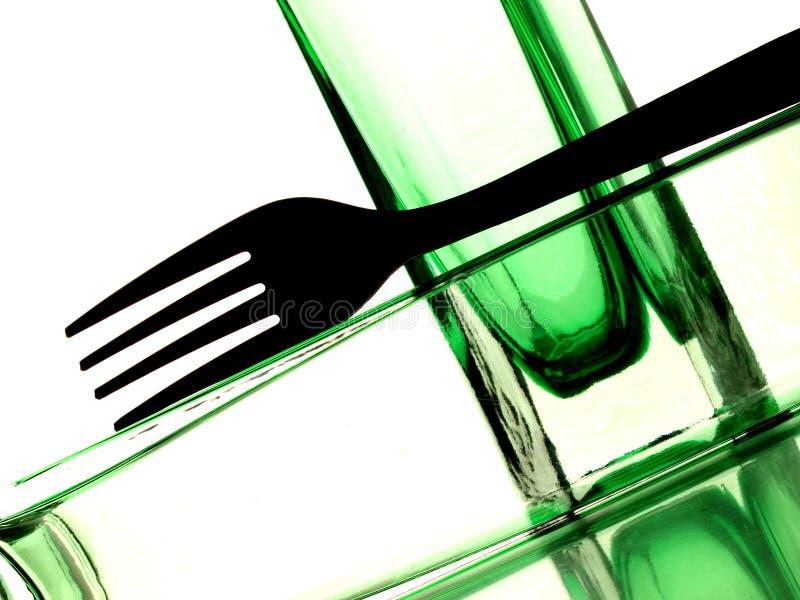 Fork en extracto de la botella imagen de archivo libre de regalías