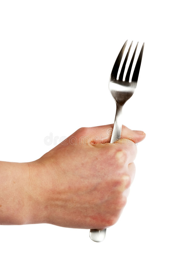 Fork in Hand royalty free stock photos