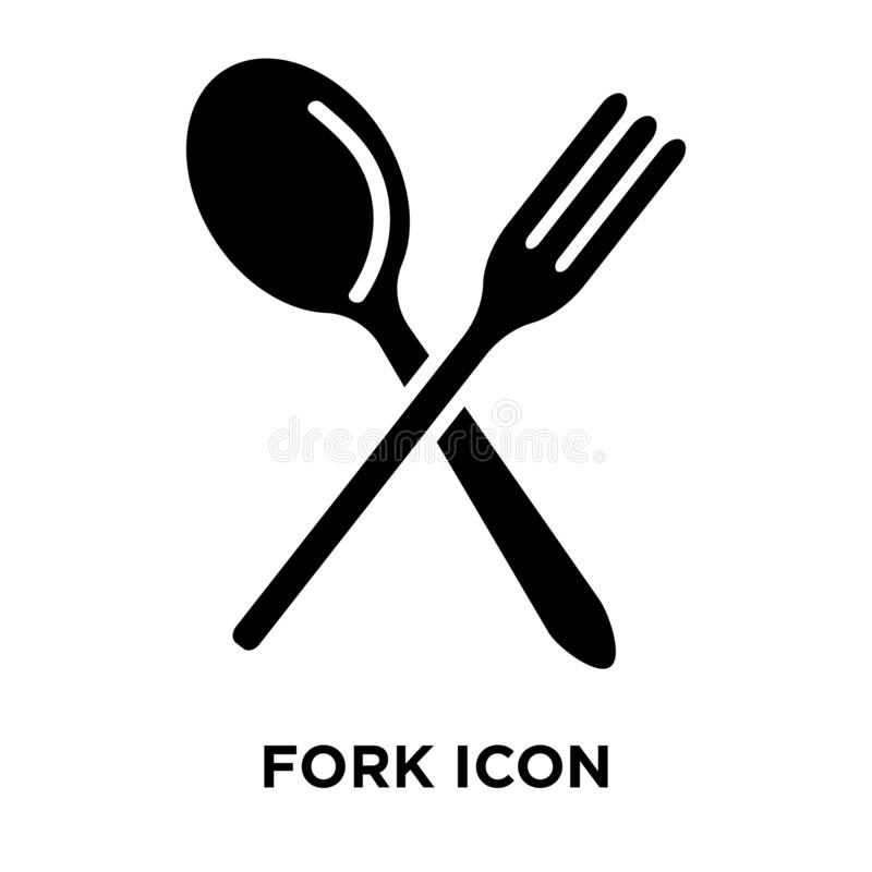 Fork icon vector isolated on white background, logo concept of F vector illustration