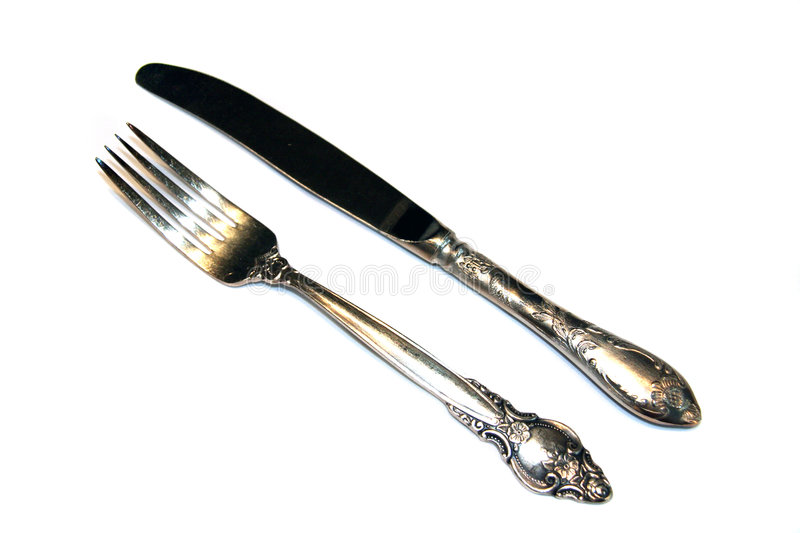 fork isolated knife nickel silver 库存图片
