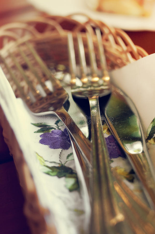Fork and Knife on beautiful cloth stock images
