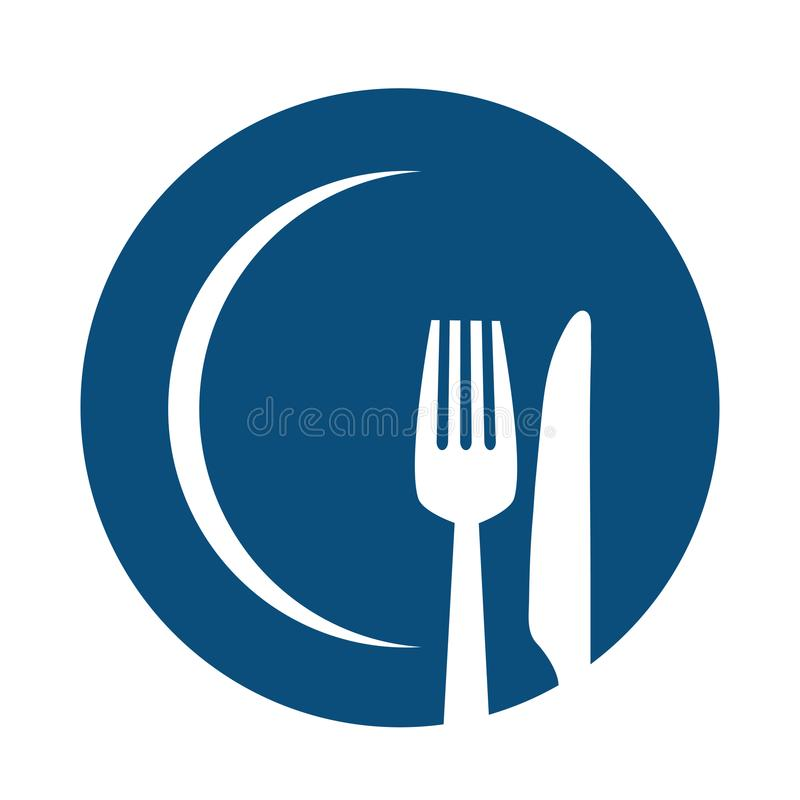 Fork and knife on blue plate icon. Cutlery and menu. Stock vector graphic vector illustration